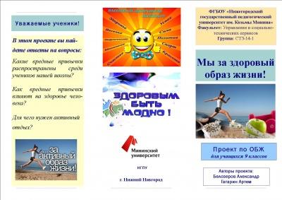 Учебный проект Мы за здоровый образ жизни — НГПУ им. К.Минина